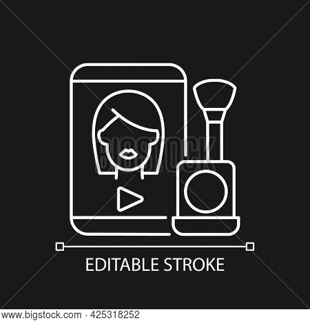 Make Up Tutorial Videos White Linear Icon For Dark Theme. Beauty Vlog. Online Creator On Style. Thin