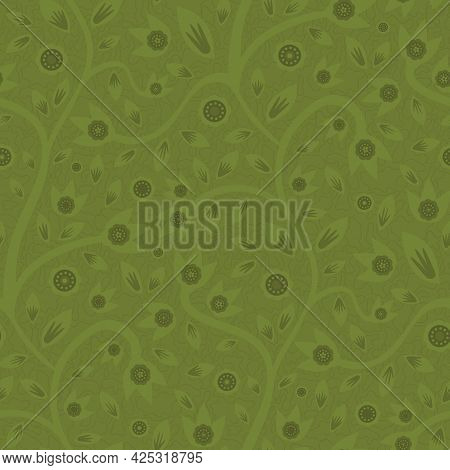 Modern Indian Florals Style Vector Seamless Pattern Background. Monochrome Sage Green Abstract Flowe