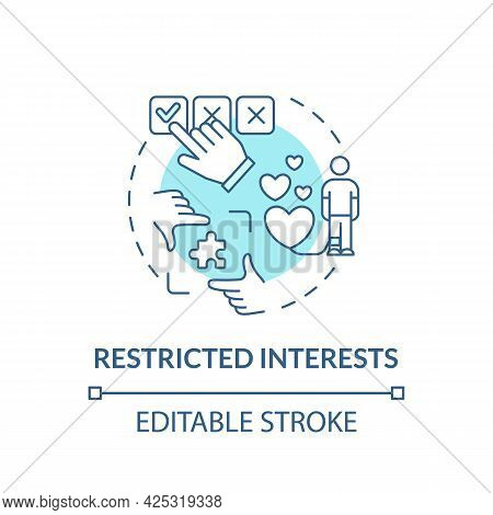 Restricted Interests Concept Icon. Autism Symptom Abstract Idea Thin Line Illustration. Preoccupatio