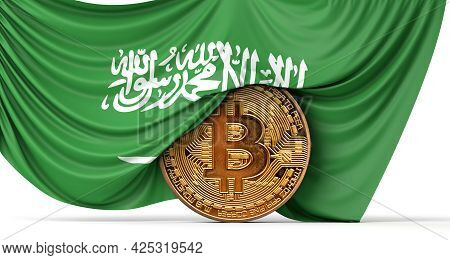 Saudi Arabia Flag Draped Over A Bitcoin Cryptocurrency Coin. 3d Rendering