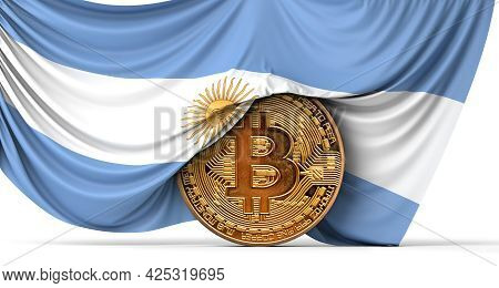 Argentina Flag Draped Over A Bitcoin Cryptocurrency Coin. 3d Rendering