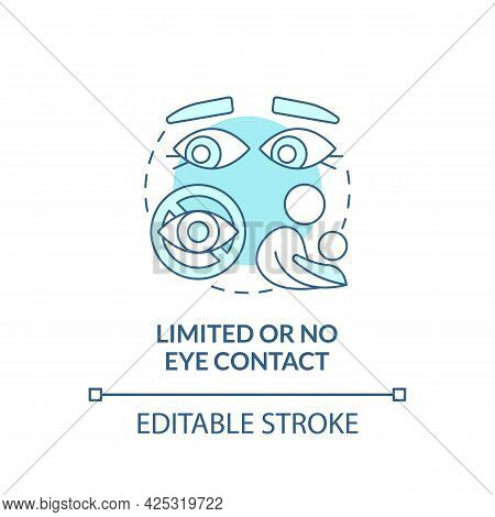 Limited And No Eye Contact Concept Icon. Autism Sign Abstract Idea Thin Line Illustration. Escape Ey