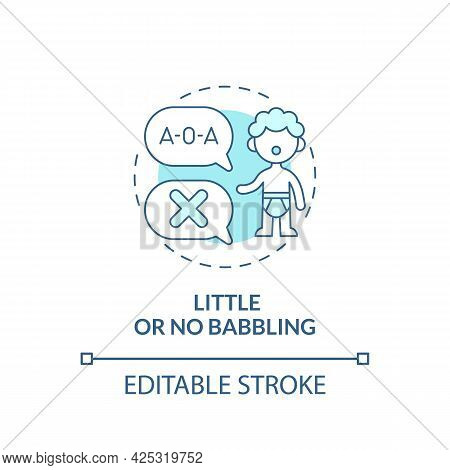 Little And No Babbling Concept Icon. Autism Sign In Kids Abstract Idea Thin Line Illustration. Late