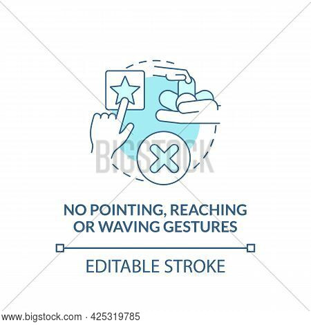 No Pointing, Reaching And Waving Gestures Concept Icon. Autism Sign Abstract Idea Thin Line Illustra