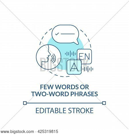 Few Words And Two-word Phrases Concept Icon. Autism Sign Abstract Idea Thin Line Illustration. Verba