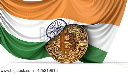 India Flag Draped Over A Bitcoin Cryptocurrency Coin. 3d Rendering