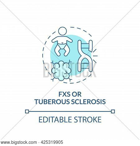 Fxs And Tuberous Sclerosis Concept Icon. Autism Cause Abstract Idea Thin Line Illustration. Rare Gen