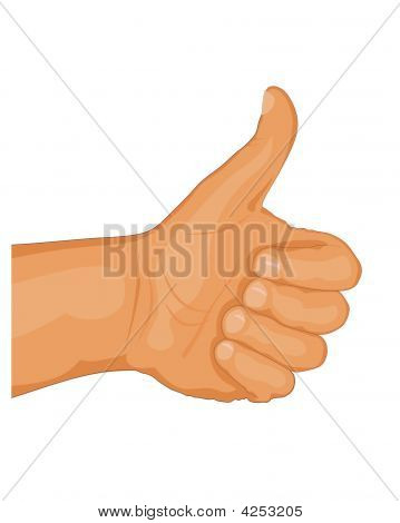 Abstract vector illustration of hand with thumb up poster