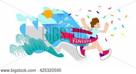 Trail Running, Winner. Runner Crossing Finish Line With Red Ribbon. Finisher Of Marathon With Confet