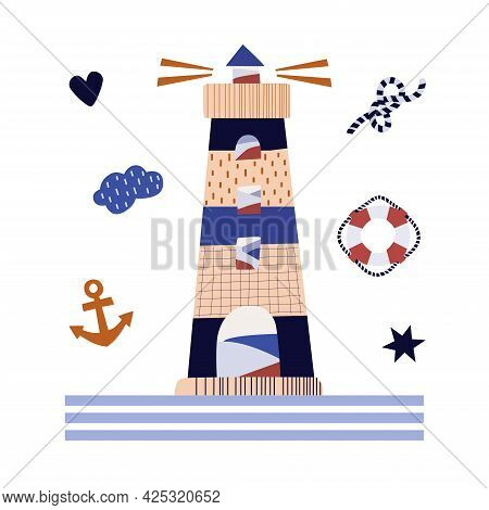Vector Illustration Of A Lighthouse And Marine Things. Anchor, Lifebuoy, Rope. Pastel Colors. Poster