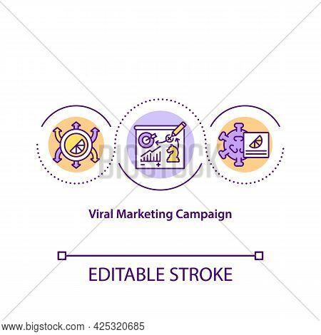 Viral Marketing Campaign Concept Icon. Marketing Strategy For Spreading Popular Content. Advertiseme