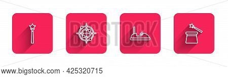 Set Line Magic Wand, Target Sport, Bumper Car And Hat With Long Shadow. Red Square Button. Vector