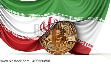 Iran Flag Draped Over A Bitcoin Cryptocurrency Coin. 3d Rendering