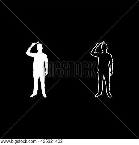 Man Is Combing Hair Use Hairbrush Front View Silhouette White Color Vector Illustration Solid Outlin