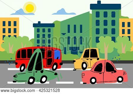 Cute Cars Are Driving Along The Road Along The Street Of The City, Cars Are Hand-drawn In The Style