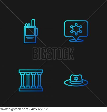 Set Line Sheriff Hat With Badge, Prison Window, Walkie Talkie And Hexagram Sheriff. Gradient Color I