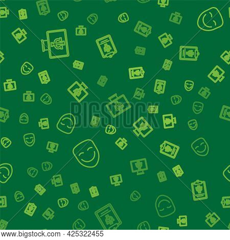 Set Line Psychologist Online, Comedy Theatrical Mask And Psychology, Psi On Seamless Pattern. Vector