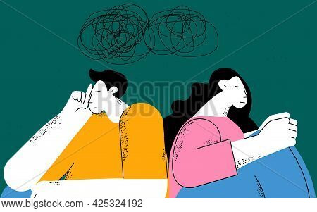 Couple Problems, Couple Therapy, Relationship And Marriage Problems, Depression And Anxiety Flat Vec