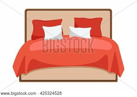 Double Wooden Bed In Flat Design For Bedroom, Hotel Room. Big Bed For Two Person With Comforter And