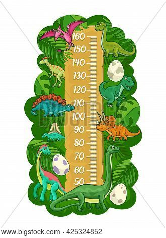 Cartoon Kids Height Chart, Funny Dinosaurs And Reptiles Growth Measure Meter. Vector Wall Sticker Fo