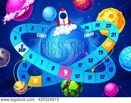 Kids Board Maze Game, Space Planets And Rocket In Galaxy. Vector Boardgame With Spaceship Take Off F