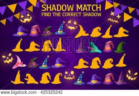 Shadow Match Game Wizard And Witch Hats. Vector Worksheet With Halloween Magician Caps. Find Correct
