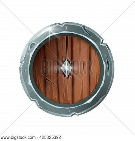 Wooden Game Shield Icon, Medieval Warrior Armor Vector Illustration, Knight Round Battle Award. Fant