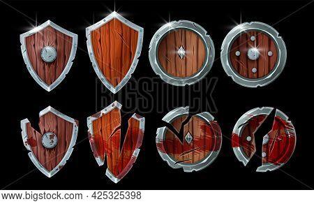 Game Wooden Shield Fantasy Illustration Set, Medieval Warrior Damaged Armor, Rpg Battle Result Objec