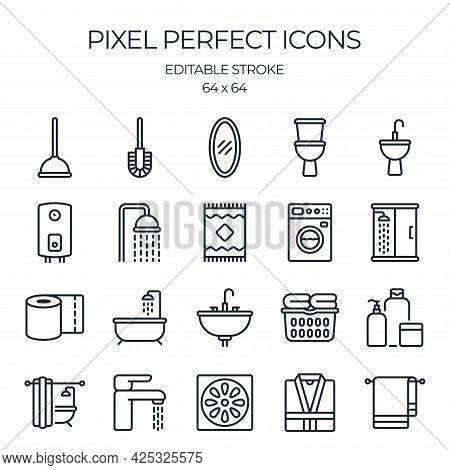Bathroom Related Editable Stroke Outline Icon Isolated On White Background Flat Vector Illustration.