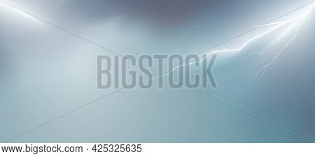 Lightning Sky Vector Background With Copy Space.