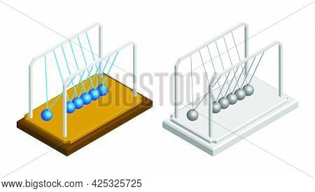 Isometric Newton Cradle. Balls Hanging On Strings. Studying Force Of Attraction In Physics Lesson At