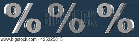 Metallic Percentage Isolated On A Dark Background. Silver Percentage Sign On A Yellow Background, 3D