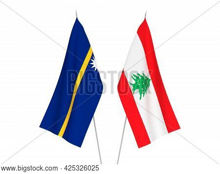 National Fabric Flags Of Lebanon And Republic Of Nauru Isolated On White Background. 3d Rendering Il