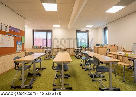 Empty Classroom Primary School During Covid Pandemic