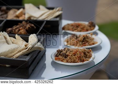 Ready Pilaf And Served. National Dish Of Oriental Cuisine.