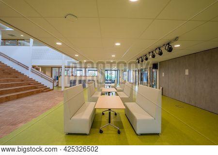 Rotterdam / Netherlands - June 21, 2021: An Auditorium In A Modern School Building For Primary Schoo
