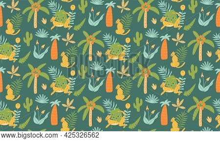 Jungle Leopard Pattern Seamless Tropical Jungle Prints Animals With Exotic Leaves, Palm Trees, Jagua