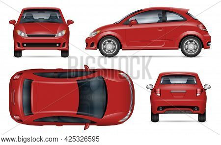 Compact Car Vector Mockup. Isolated Template Of Minicar For Vehicle Branding, Corporate Identity. Vi