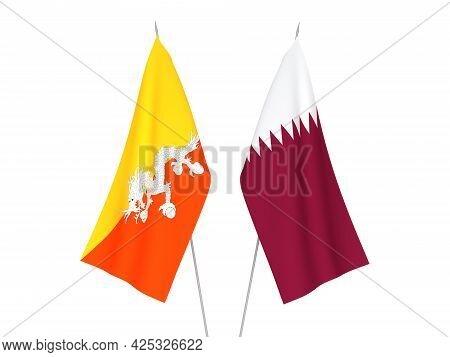 National Fabric Flags Of Qatar And Kingdom Of Bhutan Isolated On White Background. 3d Rendering Illu
