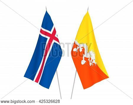 National Fabric Flags Of Iceland And Kingdom Of Bhutan Isolated On White Background. 3d Rendering Il