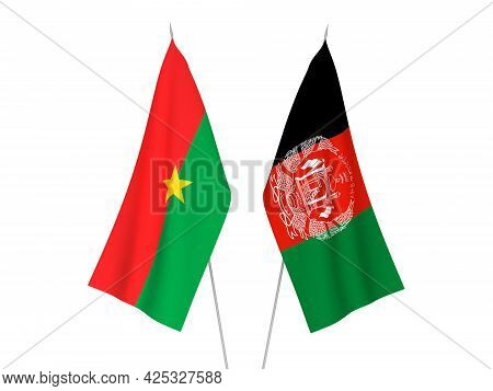 National Fabric Flags Of Burkina Faso And Islamic Republic Of Afghanistan Isolated On White Backgrou