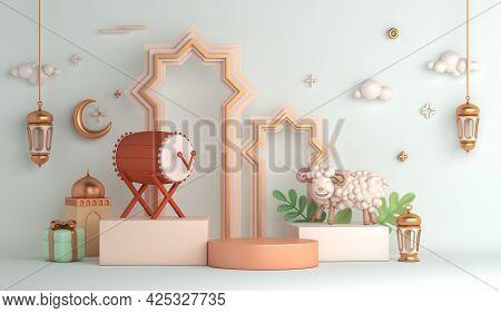 Eid Al Adha Islamic Decoration Display Podium Background With Goat Sheep Arabic Crescent Lantern Bed