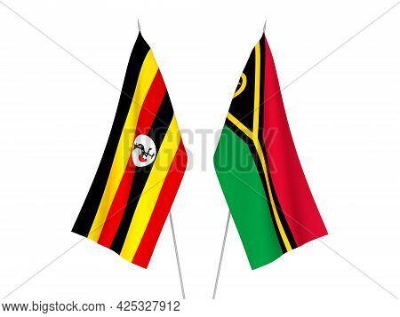 National Fabric Flags Of Uganda And Republic Of Vanuatu Isolated On White Background. 3d Rendering I