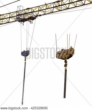 On The Boom Of The Tower Crane, A Cargo Hook Hangs On Ropes. Chains Hang From The Hook To Grab The L