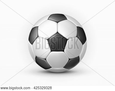 Soccer Ball Isolated On White Background. Classic Football Made Of Black And White Polygons. Soccer