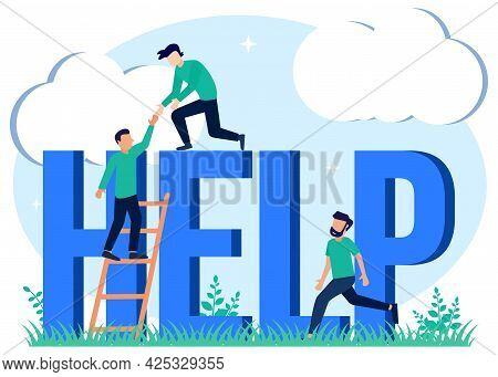 Flat Style Vector Illustration Helping Each Other Concept. Rescue Solutions In Danger And Troubled S