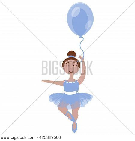 Vector Image Of A Little Ballerina Girl With A Tutu And Pointe Shoes And A Balloon In Blue Tones On