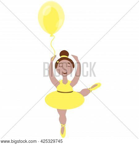 Vector Image Of A Little Ballerina Girl With A Tutu And Pointe Shoes And A Balloon In Yellow Tones O
