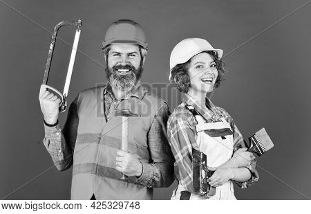 Diy Repair. Construction Workers. Home Renovation. Couple Renovating House. Woman Builder Hard Hat.