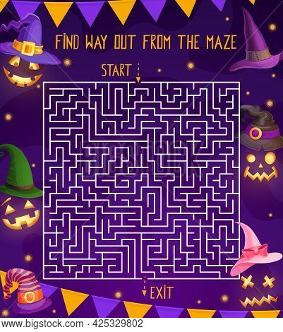 Halloween Holiday Labyrinth Maze Kids Game With Pumpkin Lanterns, Ghosts And Witch Or Wizard Hats. V